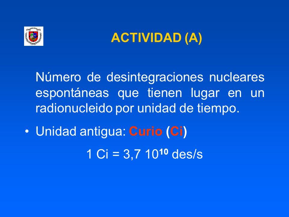 ACTIVIDAD (A) Número de desintegraciones nucleares espontáneas que tienen lugar en un radionucleido por unidad de tiempo. Unidad antigua: Curio (Ci) 1