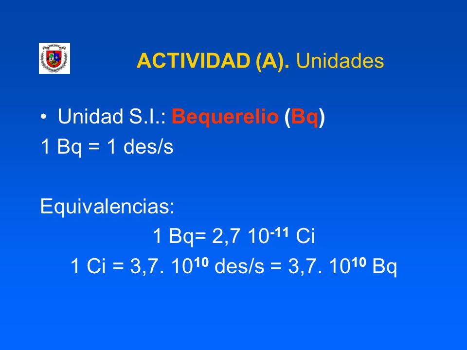 ACTIVIDAD (A). Unidades Unidad S.I.: Bequerelio (Bq) 1 Bq = 1 des/s Equivalencias: 1 Bq= 2,7 10 -11 Ci 1 Ci = 3,7. 10 10 des/s = 3,7. 10 10 Bq