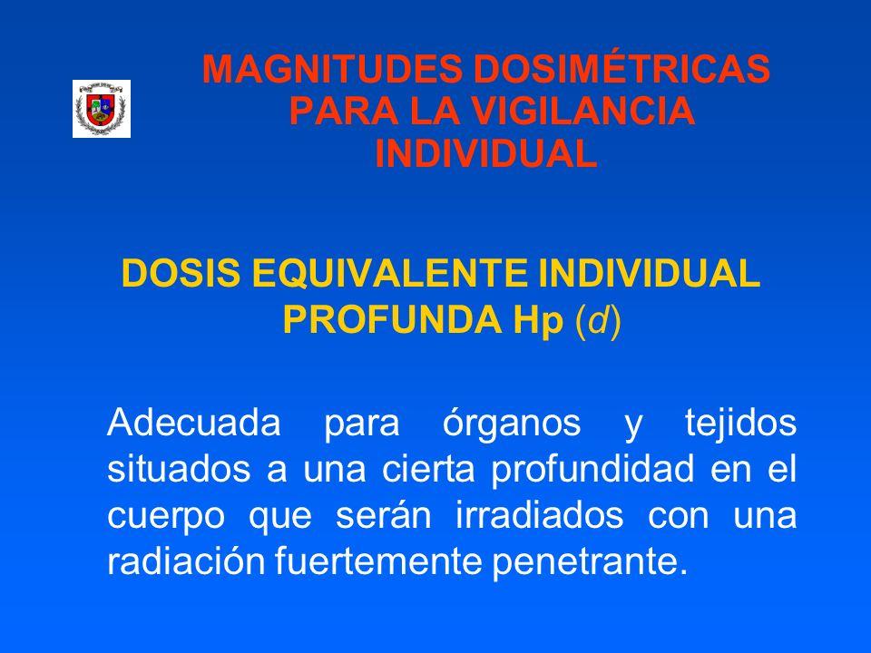 MAGNITUDES DOSIMÉTRICAS PARA LA VIGILANCIA INDIVIDUAL DOSIS EQUIVALENTE INDIVIDUAL PROFUNDA Hp (d) Adecuada para órganos y tejidos situados a una cier
