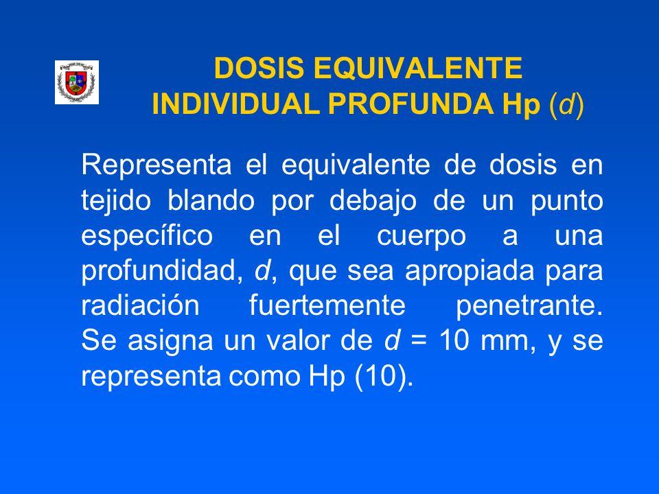 DOSIS EQUIVALENTE INDIVIDUAL PROFUNDA Hp (d) Representa el equivalente de dosis en tejido blando por debajo de un punto específico en el cuerpo a una