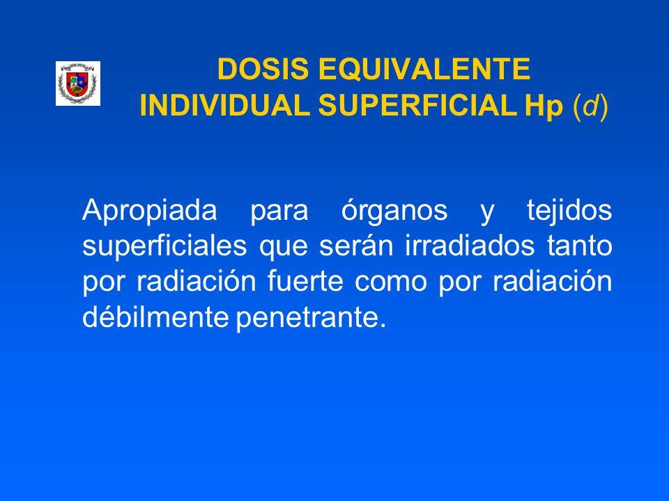 DOSIS EQUIVALENTE INDIVIDUAL SUPERFICIAL Hp (d) Apropiada para órganos y tejidos superficiales que serán irradiados tanto por radiación fuerte como po