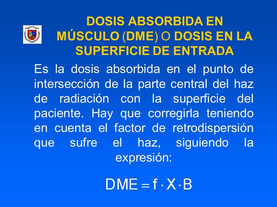 DOSIS ABSORBIDA EN MÚSCULO (DME) O DOSIS EN LA SUPERFICIE DE ENTRADA Es la dosis absorbida en el punto de intersección de la parte central del haz de
