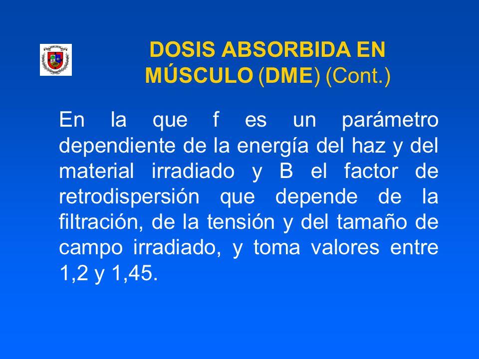 DOSIS ABSORBIDA EN MÚSCULO (DME) (Cont.) En la que f es un parámetro dependiente de la energía del haz y del material irradiado y B el factor de retro