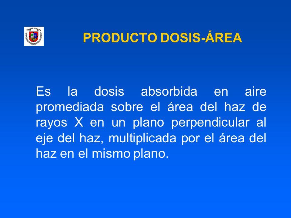 PRODUCTO DOSIS-ÁREA Es la dosis absorbida en aire promediada sobre el área del haz de rayos X en un plano perpendicular al eje del haz, multiplicada p