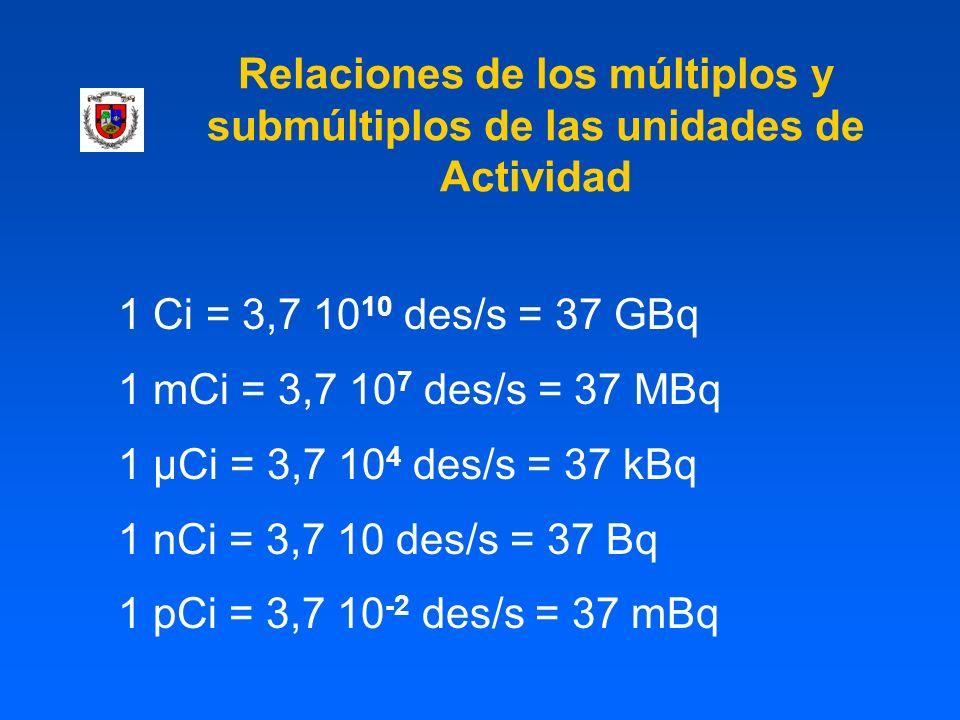 Relaciones de los múltiplos y submúltiplos de las unidades de Actividad 1 Ci = 3,7 10 10 des/s = 37 GBq 1 mCi = 3,7 10 7 des/s = 37 MBq 1 µCi = 3,7 10