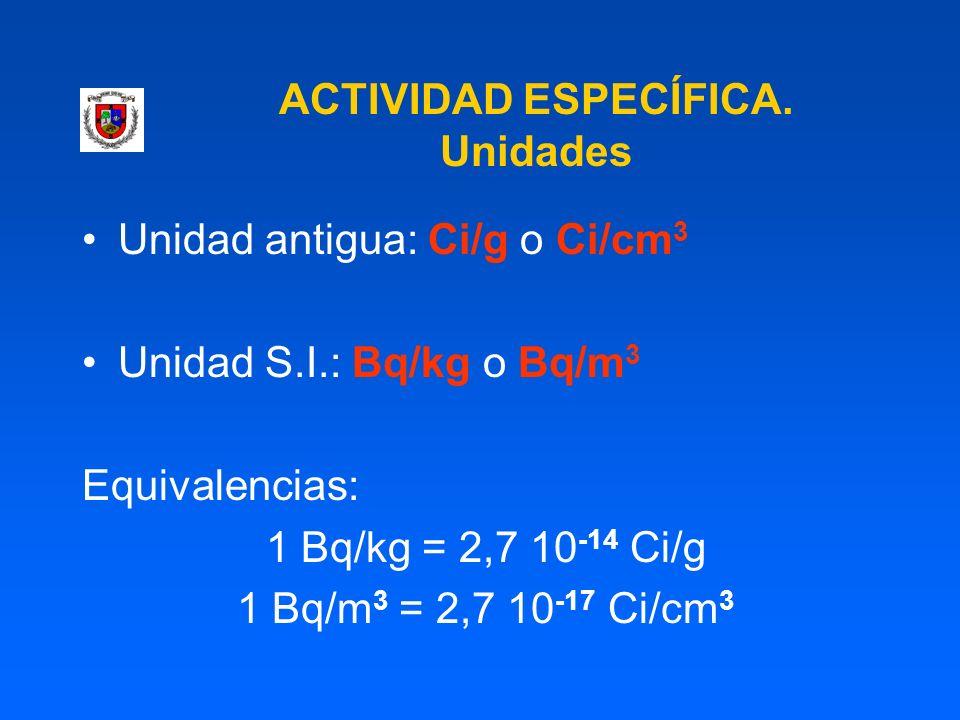 ACTIVIDAD ESPECÍFICA. Unidades Unidad antigua: Ci/g o Ci/cm 3 Unidad S.I.: Bq/kg o Bq/m 3 Equivalencias: 1 Bq/kg = 2,7 10 -14 Ci/g 1 Bq/m 3 = 2,7 10 -