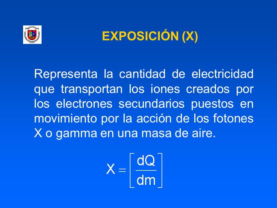 EXPOSICIÓN (X) Representa la cantidad de electricidad que transportan los iones creados por los electrones secundarios puestos en movimiento por la ac