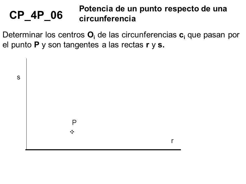 CP_4P_06 Potencia de un punto respecto de una circunferencia Determinar los centros O i de las circunferencias c i que pasan por el punto P y son tang