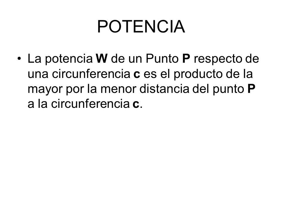 POTENCIA La potencia W de un Punto P respecto de una circunferencia c es el producto de la mayor por la menor distancia del punto P a la circunferenci
