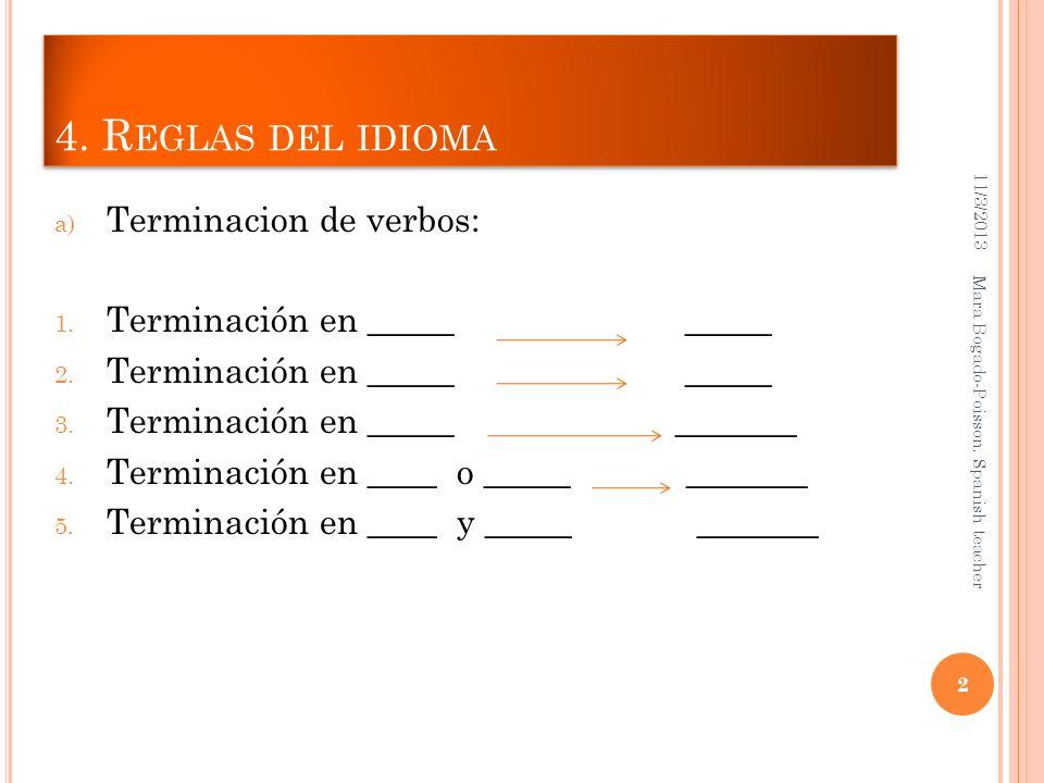 4. R EGLAS DEL IDIOMA a) Terminacion de verbos: 1. Terminación en _____ _____ 2. Terminación en _____ _____ 3. Terminación en _____ _______ 4. Termina