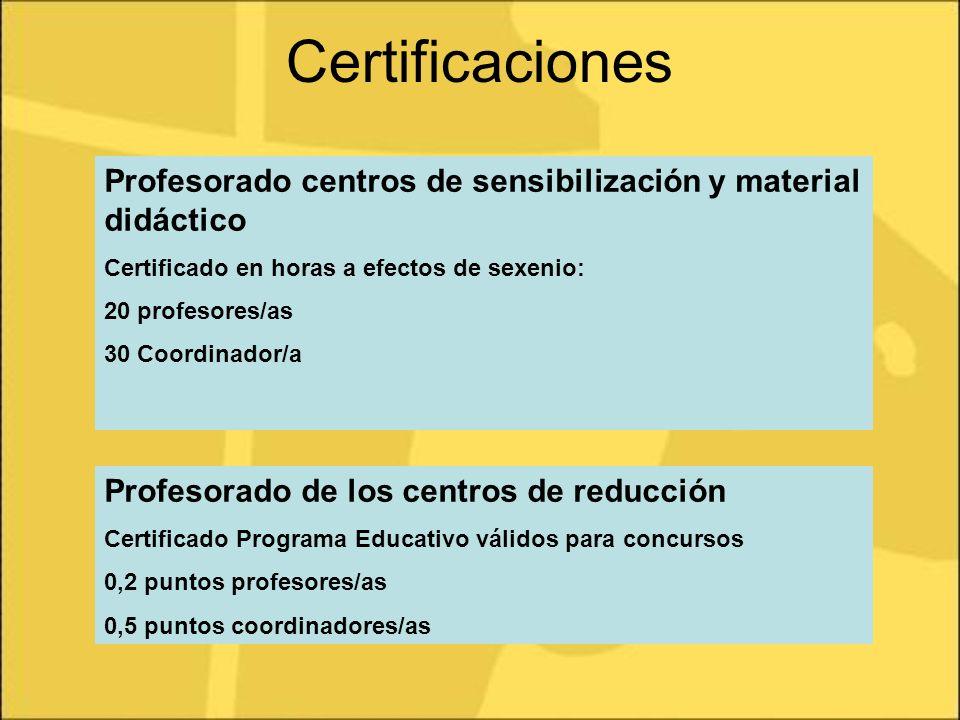 Certificaciones Profesorado centros de sensibilización y material didáctico Certificado en horas a efectos de sexenio: 20 profesores/as 30 Coordinador