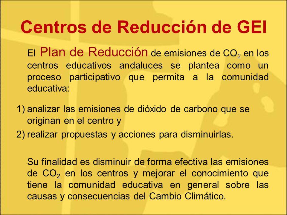 Centros de Reducción de GEI El Plan de Reducción de emisiones de CO 2 en los centros educativos andaluces se plantea como un proceso participativo que