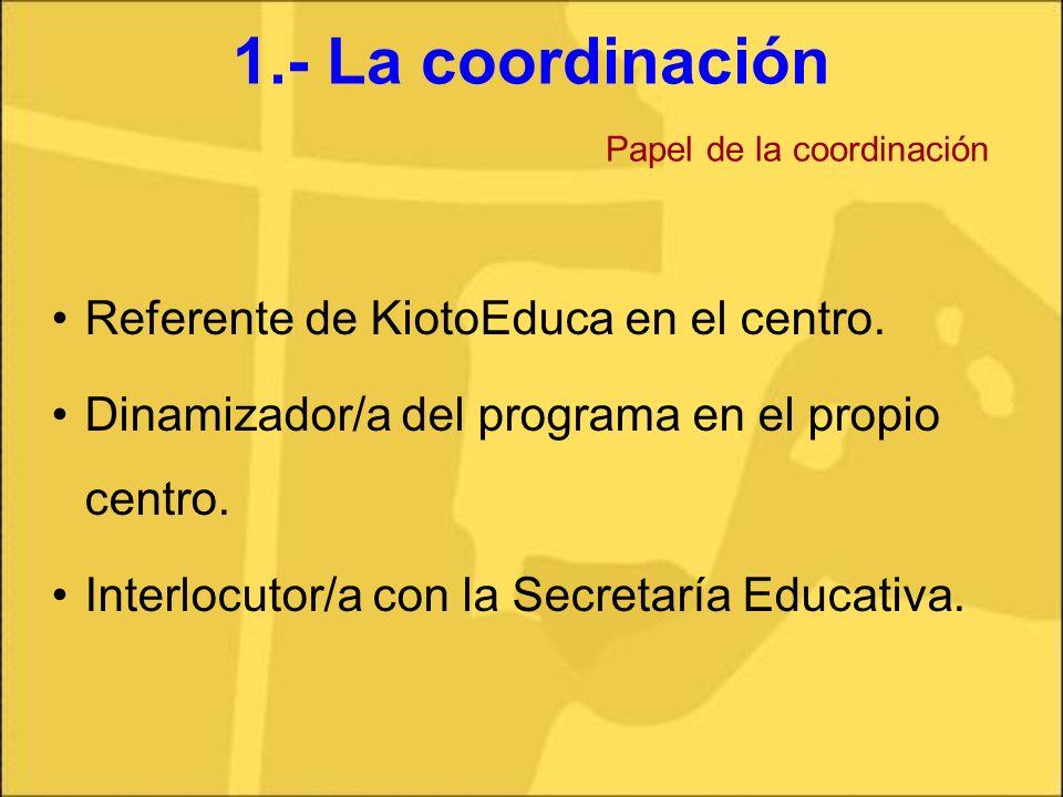 1.- La coordinación Papel de la coordinación Referente de KiotoEduca en el centro. Dinamizador/a del programa en el propio centro. Interlocutor/a con