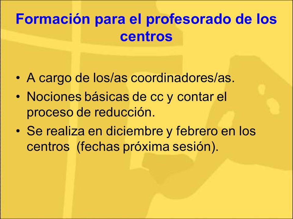 Formación para el profesorado de los centros A cargo de los/as coordinadores/as. Nociones básicas de cc y contar el proceso de reducción. Se realiza e