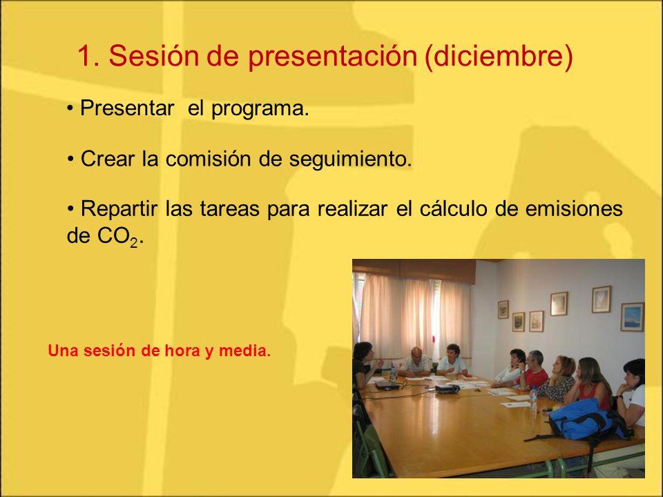 1. Sesión de presentación (diciembre) Presentar el programa. Repartir las tareas para realizar el cálculo de emisiones de CO 2. Crear la comisión de s