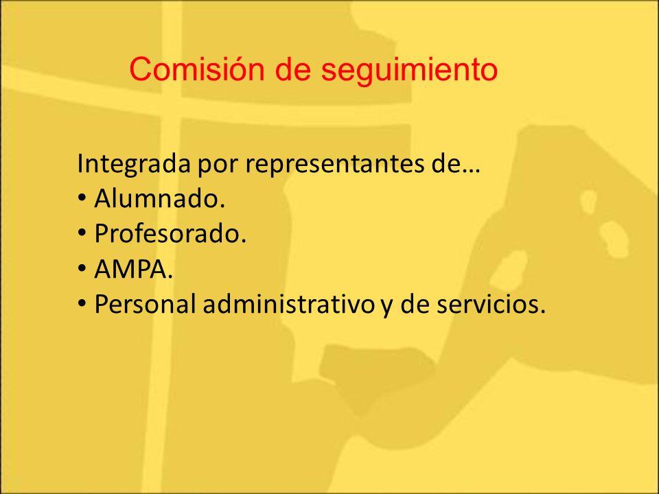 Integrada por representantes de… Alumnado. Profesorado. AMPA. Personal administrativo y de servicios. Comisión de seguimiento
