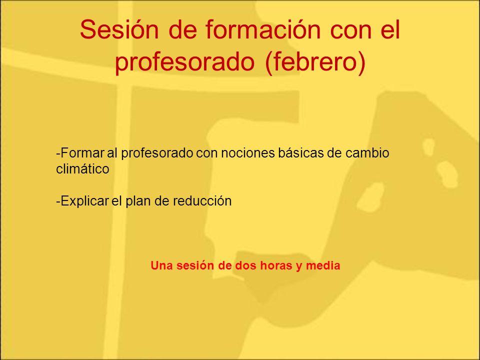 Sesión de formación con el profesorado (febrero) -Formar al profesorado con nociones básicas de cambio climático -Explicar el plan de reducción Una se