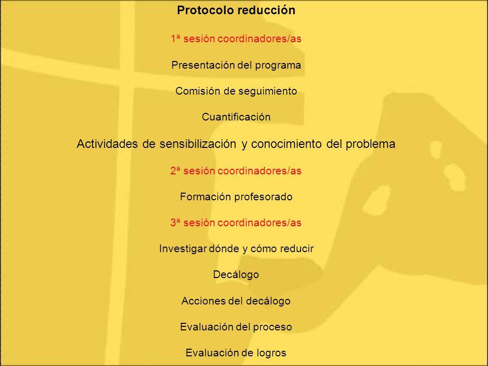 Protocolo reducción 1ª sesión coordinadores/as Presentación del programa Comisión de seguimiento Cuantificación Actividades de sensibilización y conoc