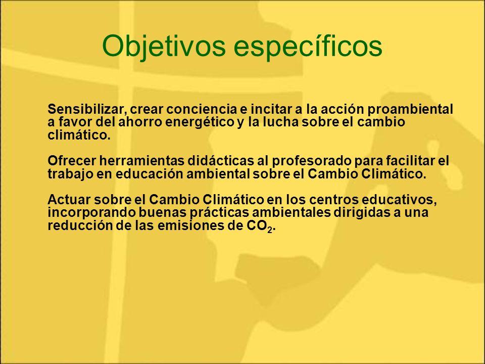 Objetivos específicos Sensibilizar, crear conciencia e incitar a la acción proambiental a favor del ahorro energético y la lucha sobre el cambio climá