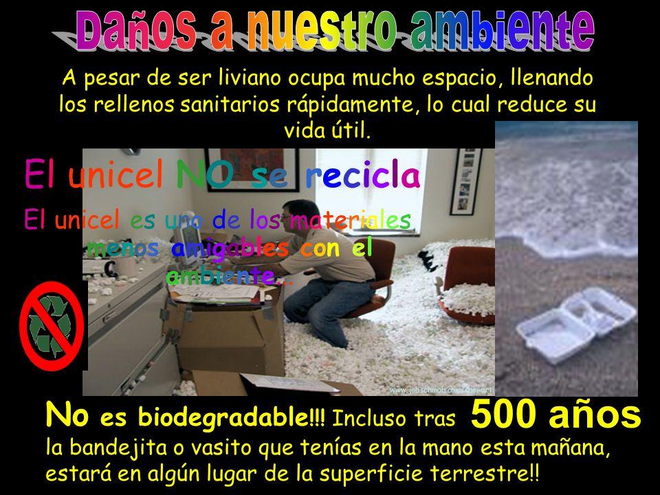 www.jobschmob.com/showarticle.cgi?id=201 El unicel es uno de los materiales menos amigables con el ambiente... No es biodegradable !!! Incluso tras la