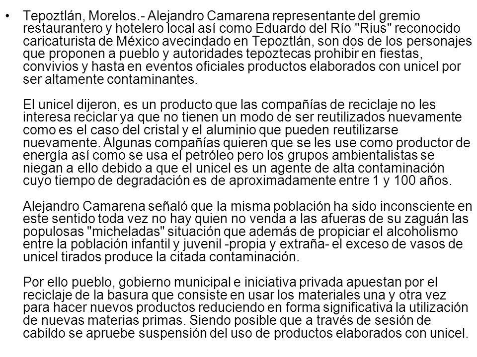 Tepoztlán, Morelos.- Alejandro Camarena representante del gremio restaurantero y hotelero local así como Eduardo del Río