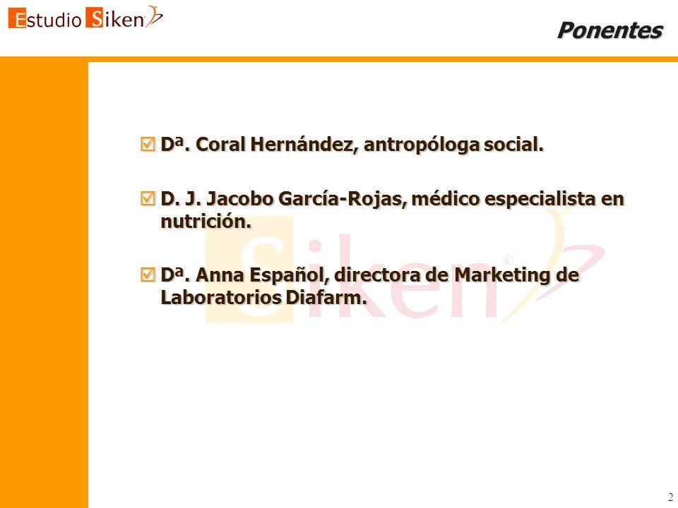 2 Ponentes Dª. Coral Hernández, antropóloga social. Dª. Coral Hernández, antropóloga social. D. J. Jacobo García-Rojas, médico especialista en nutrici