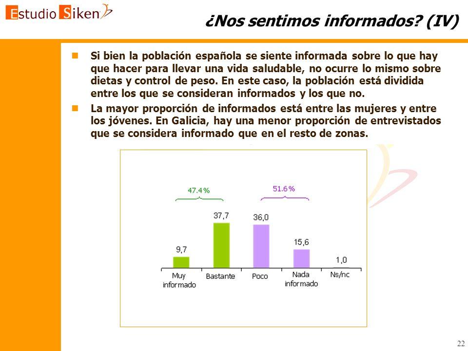 22 ¿Nos sentimos informados? (IV) n nSi bien la población española se siente informada sobre lo que hay que hacer para llevar una vida saludable, no o