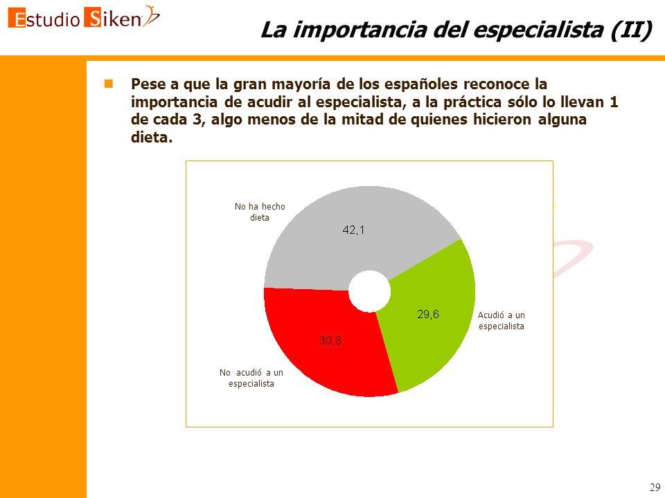 29 La importancia del especialista (II) n nPese a que la gran mayoría de los españoles reconoce la importancia de acudir al especialista, a la práctic