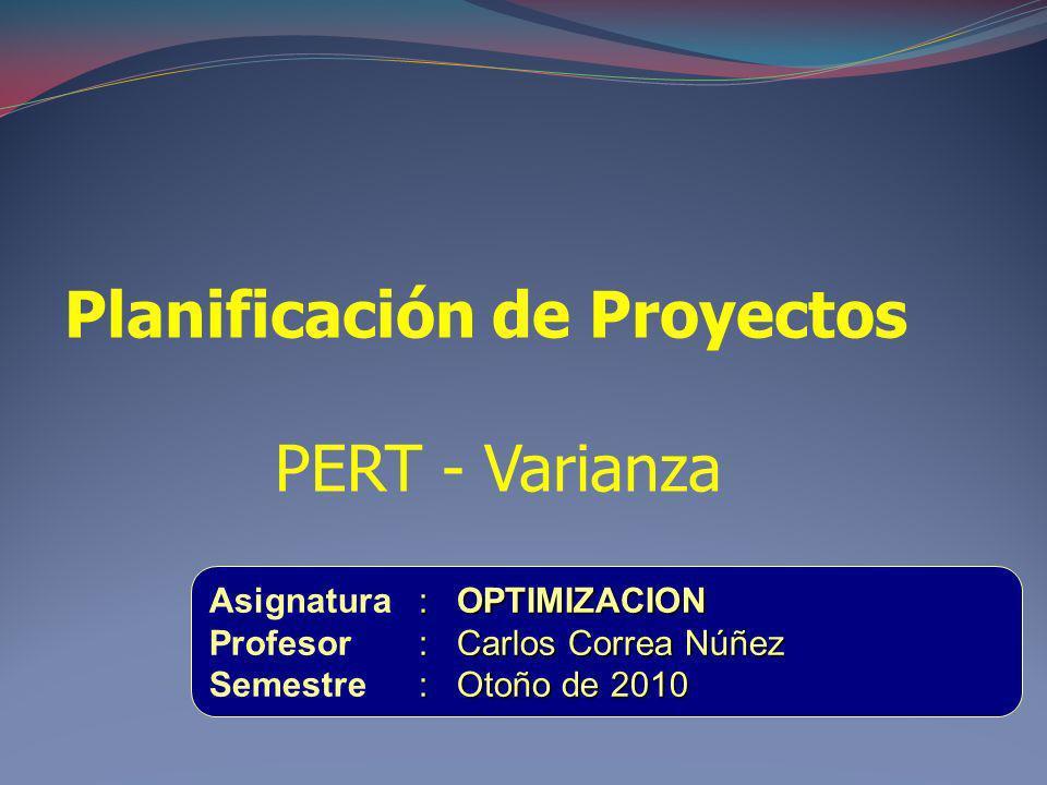 Planificación de Proyectos PERT - Varianza : OPTIMIZACION Asignatura: OPTIMIZACION : Carlos Correa Núñez Profesor: Carlos Correa Núñez : Otoño de 2010