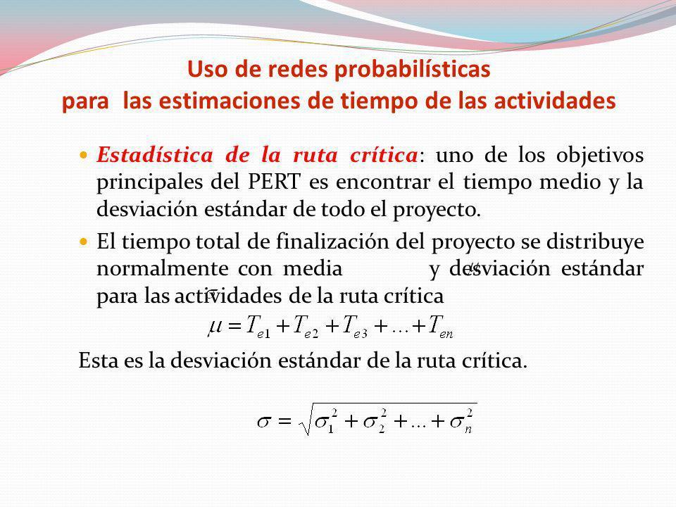 Estadística de la ruta crítica: uno de los objetivos principales del PERT es encontrar el tiempo medio y la desviación estándar de todo el proyecto. E