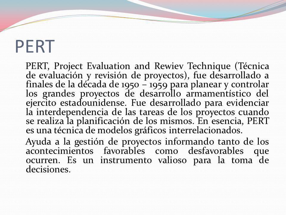 PERT PERT, Project Evaluation and Rewiev Technique (Técnica de evaluación y revisión de proyectos), fue desarrollado a finales de la década de 1950 –
