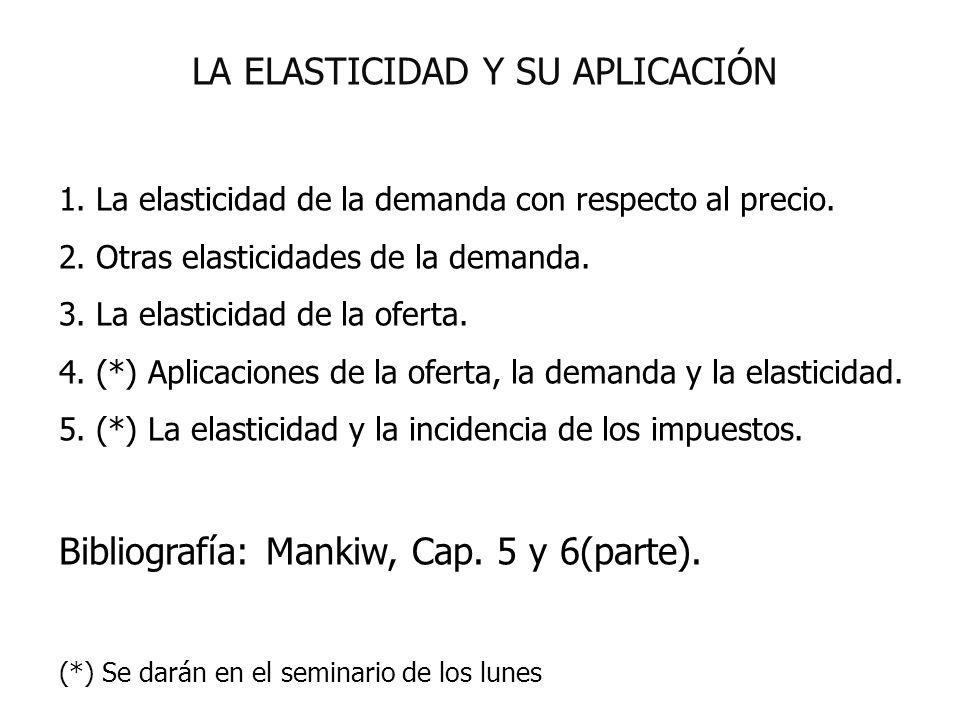 LA ELASTICIDAD Y SU APLICACIÓN 1. La elasticidad de la demanda con respecto al precio. 2. Otras elasticidades de la demanda. 3. La elasticidad de la o