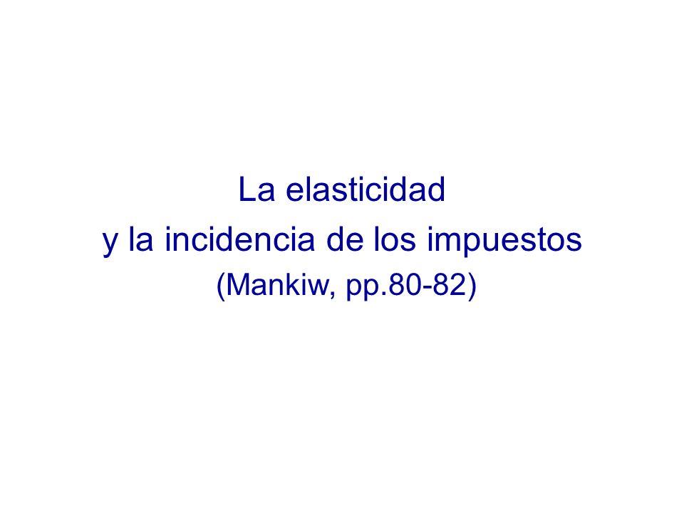 La elasticidad y la incidencia de los impuestos (Mankiw, pp.80-82)