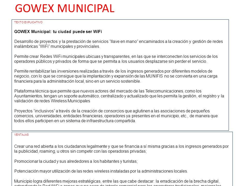GOWEX TRANSPORTE TEXTO EXPLICATIVO GOWEX TRANSPORTE: Disfruta de tu viaje con WiFi Desarrollo de proyectos y la prestación de servicios llave en mano encaminados a la creación y gestión de redes inalámbricas WiFi en medios de transporte: autobús, metro, tren, etc.