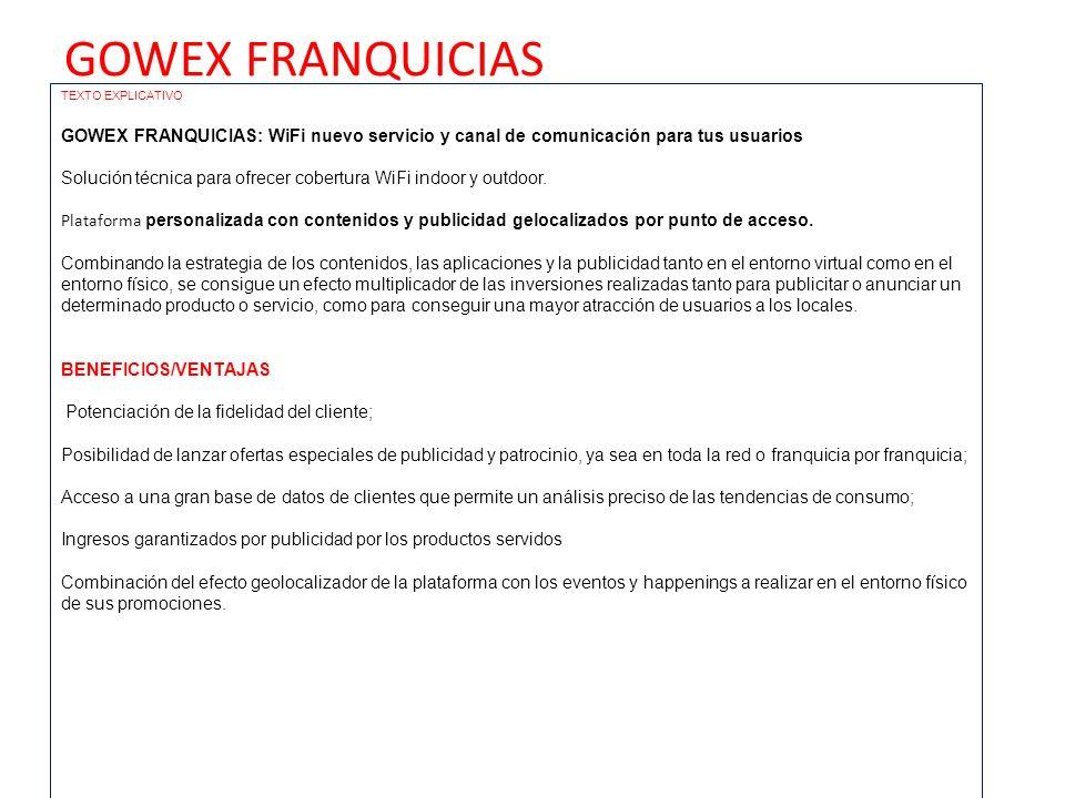 GOWEX FRANQUICIAS TEXTO EXPLICATIVO GOWEX FRANQUICIAS: WiFi nuevo servicio y canal de comunicación para tus usuarios Solución técnica para ofrecer cob