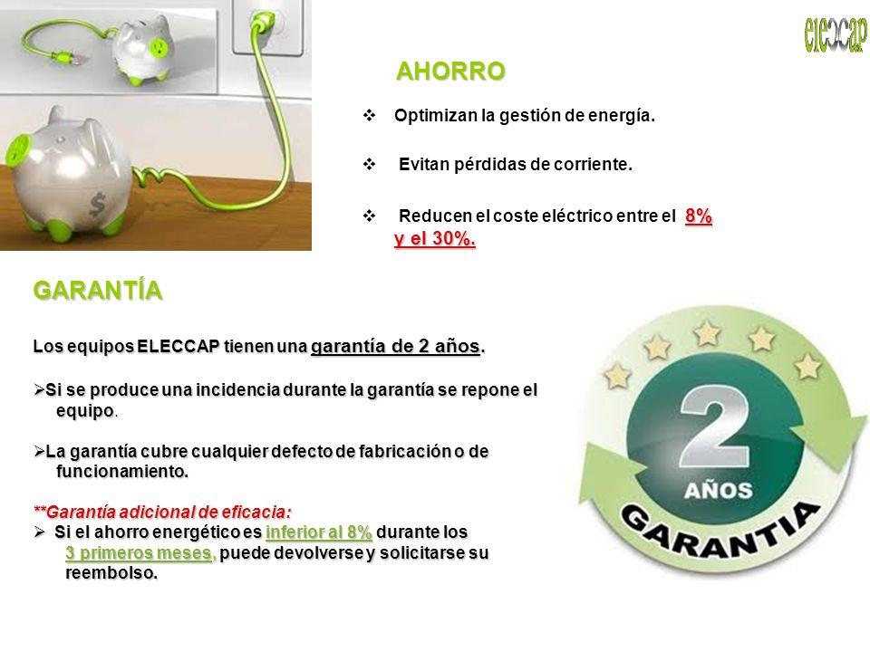 AHORRO Optimizan la gestión de energía. Evitan pérdidas de corriente. 8% y el 30%. Reducen el coste eléctrico entre el 8% y el 30%. GARANTÍA Los equip