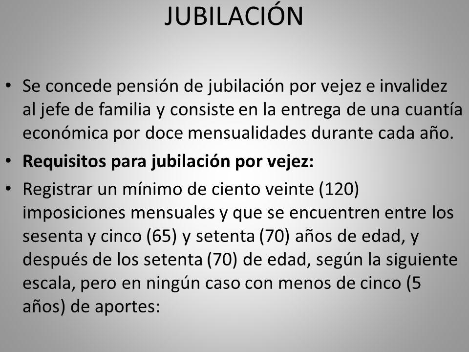 Se concede pensión de jubilación por vejez e invalidez al jefe de familia y consiste en la entrega de una cuantía económica por doce mensualidades dur