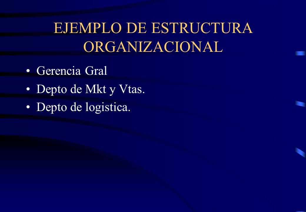 EJEMPLO DE ESTRUCTURA ORGANIZACIONAL Gerencia Gral Depto de Mkt y Vtas. Depto de logistica.