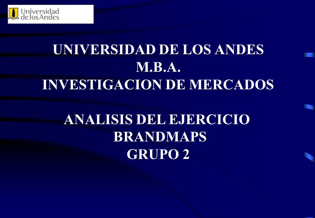 UNIVERSIDAD DE LOS ANDES M.B.A. INVESTIGACION DE MERCADOS ANALISIS DEL EJERCICIO BRANDMAPS GRUPO 2