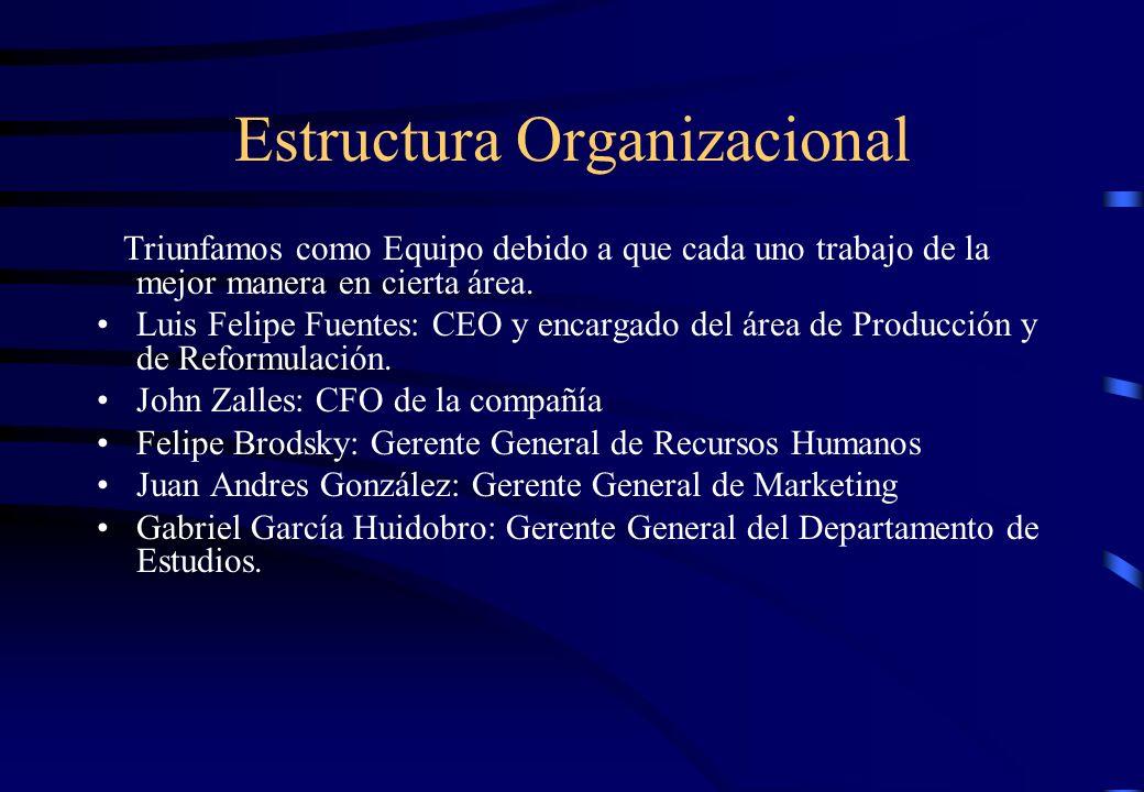 Estructura Organizacional Triunfamos como Equipo debido a que cada uno trabajo de la mejor manera en cierta área. Luis Felipe Fuentes: CEO y encargado
