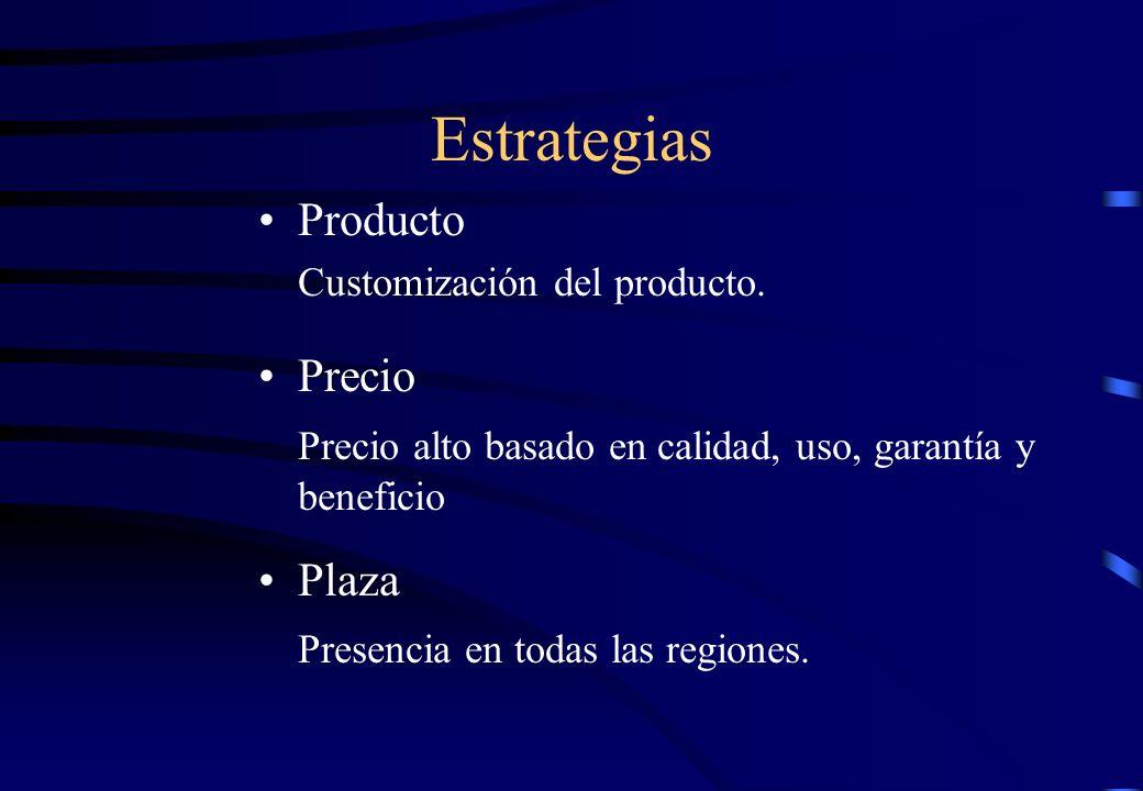 Estrategias Producto Customización del producto. Precio Precio alto basado en calidad, uso, garantía y beneficio Plaza Presencia en todas las regiones