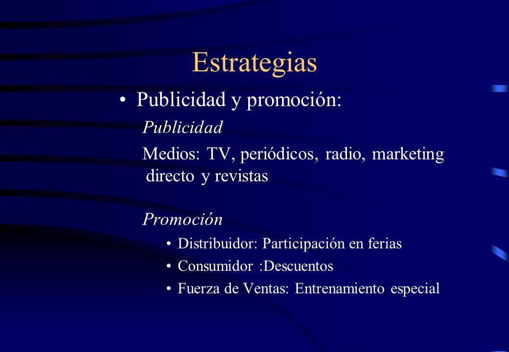 Estrategias Publicidad y promoción: Publicidad Medios: TV, periódicos, radio, marketing directo y revistas Promoción Distribuidor: Participación en fe