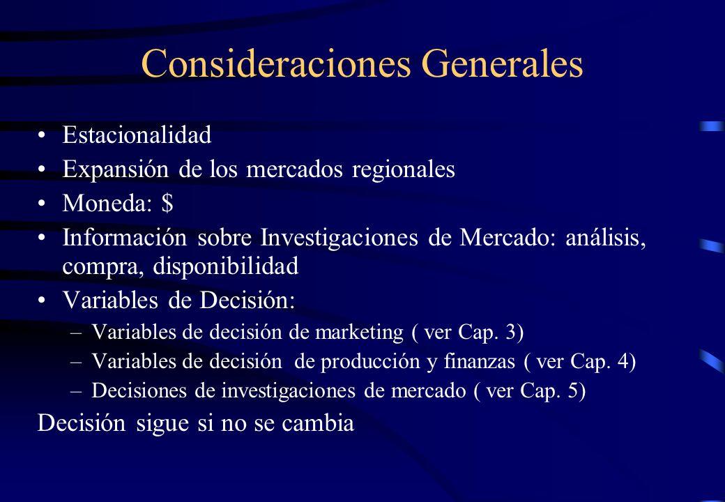 Consideraciones Generales Estacionalidad Expansión de los mercados regionales Moneda: $ Información sobre Investigaciones de Mercado: análisis, compra