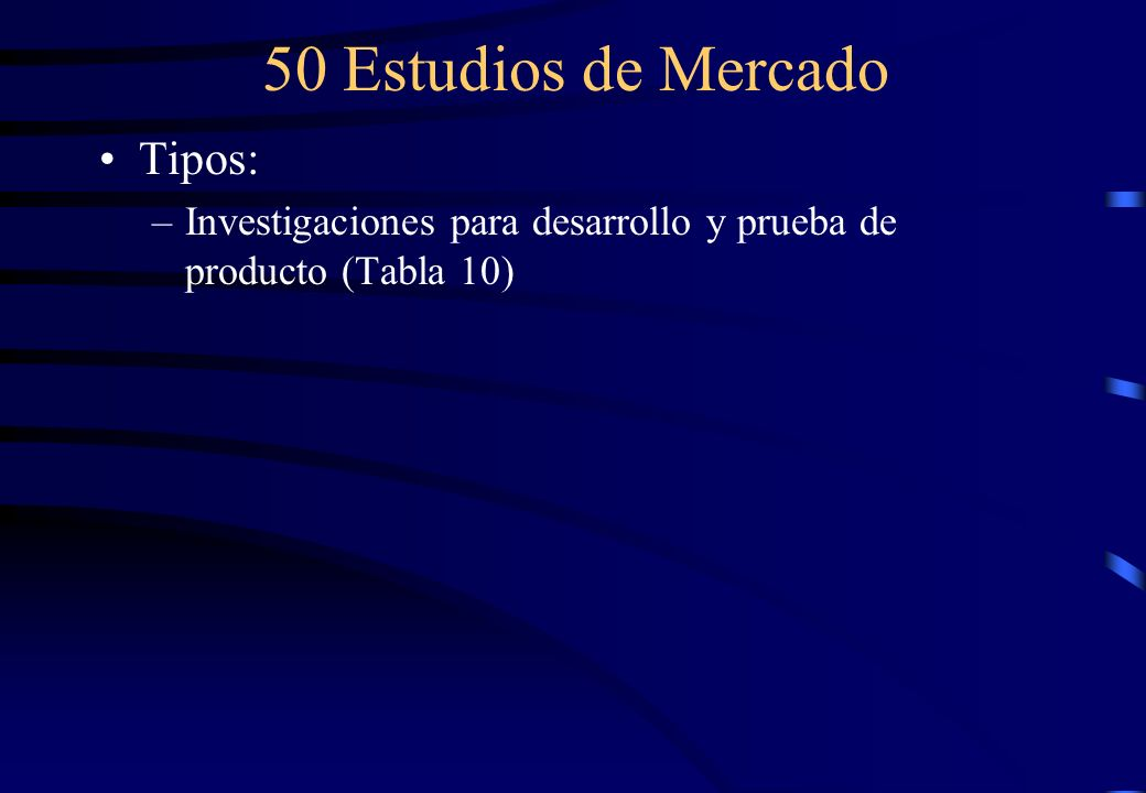 50 Estudios de Mercado Tipos: –Investigaciones para desarrollo y prueba de producto (Tabla 10)