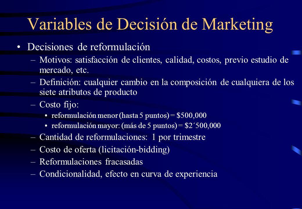 Variables de Decisión de Marketing Decisiones de reformulación –Motivos: satisfacción de clientes, calidad, costos, previo estudio de mercado, etc. –D