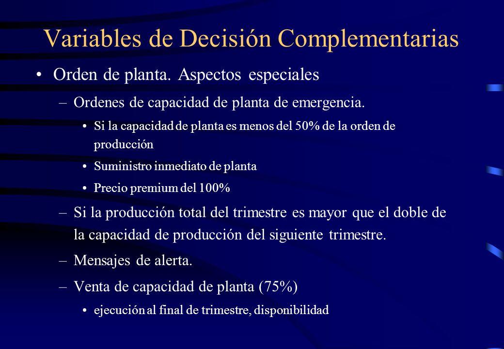 Variables de Decisión Complementarias Orden de planta. Aspectos especiales –Ordenes de capacidad de planta de emergencia. Si la capacidad de planta es