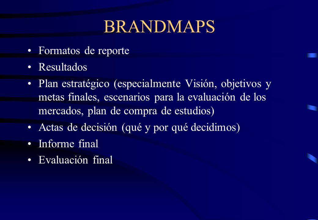 BRANDMAPS Formatos de reporte Resultados Plan estratégico (especialmente Visión, objetivos y metas finales, escenarios para la evaluación de los merca