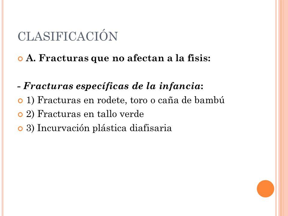 CLASIFICACIÓN A. Fracturas que no afectan a la fisis: - Fracturas específicas de la infancia : 1) Fracturas en rodete, toro o caña de bambú 2) Fractur