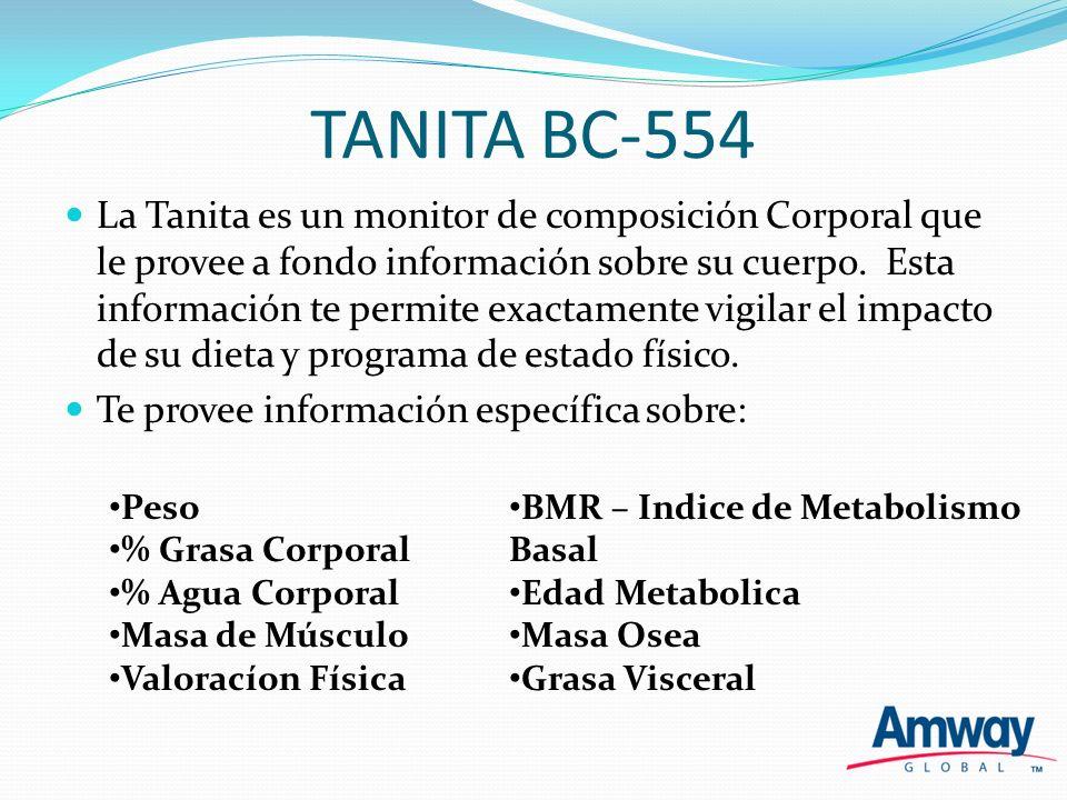 TANITA BC-554 La Tanita es un monitor de composición Corporal que le provee a fondo información sobre su cuerpo. Esta información te permite exactamen