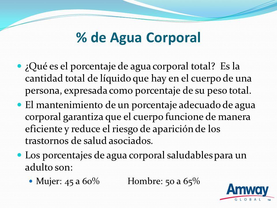 % de Agua Corporal ¿Qué es el porcentaje de agua corporal total? Es la cantidad total de líquido que hay en el cuerpo de una persona, expresada como p